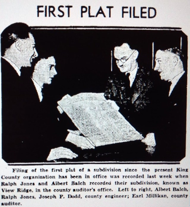 Balch and Jones first plat filed.Seattle Times 8 December 1935 page 27