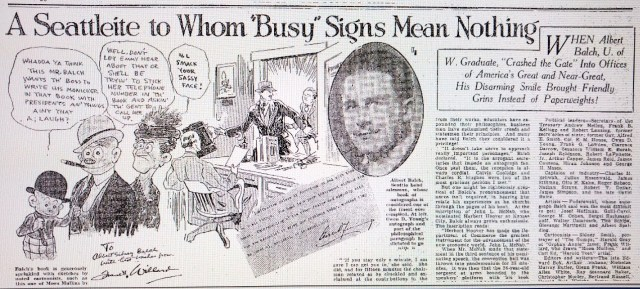 Balch Autograph Article.Seattle Daily Times 2 March 1930 page 70