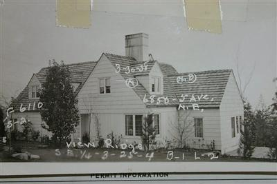 Albert Balch built his own home in View Ridge in 1936.  Original property card photo courtesy of the Puget Sound Regional Archives.
