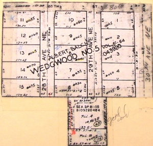 Plat map of Wedgwood #5. At the bottom of the map is a 1926 house not included in the plat.