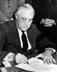 President Roosevelt signs declaration of war on December 8 1941