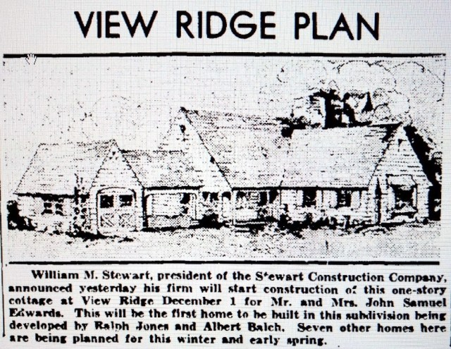 View Ridge first house.Seattle Times 3 November 1935 page 23