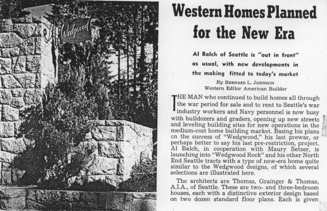Wedgwood American Builder article in 1946