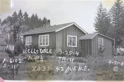 This house in the Wellsdale plat was built in 1935. The owner left the sides covered by tar paper only, to reduce the assessed value of the house for property taxes.