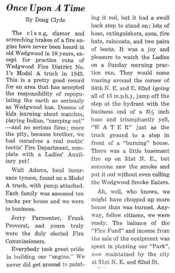 Doug Clyde April 1960 in the Wedgwood Echo