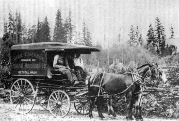 The Ericksen store in Bothell had a horse-drawn delivery wagon. Home delivery of grocery orders was common in the years before people had cars.