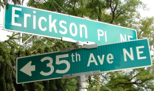 Erickson Place is between NE 135th and 137th Streets and merges into Lake City Way NE.