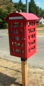 This Little Free Library in the Wellsdale plat is on 43rd Ave NE a few doors north of Thornton Creek School at Decatur.