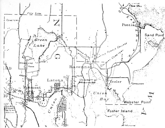 McKee's Correct Road Map of Seattle and Vicinity, 1894, courtesy of the Seattle Room, Seattle Public Library. The snaking line of the SLS&E Railroad is shown through the communities of Fremont, Latona (Wallingford), Ravenna, Yesler (Laurelhurst) and north past Sand Point. Block dots indicate population clusters. Calvary Cemetery, established 1889, is a point of reference at the corner of NE 55th Street and 35th Ave NE. The Madison Street dock on Lake Washington is at the bottom right edge of the map.