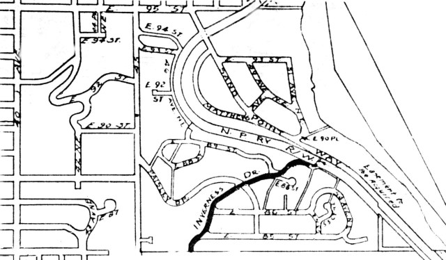 When development was begun in 1954, Inverness could be accessed only from 45th Ave NE. The Wedgwood neighborhood is to the left (west) of 45th Ave NE. Here we see Inverness Drive marked in the proposal to be connected to Sand Point Way NE as of 1955.