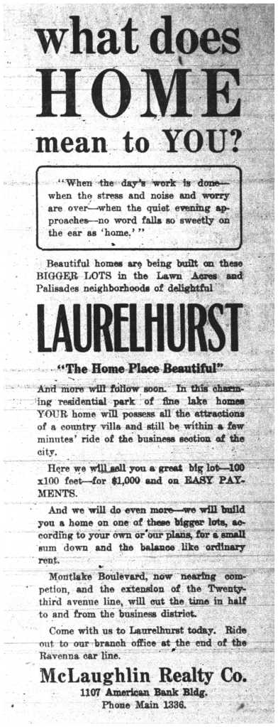 McLaughlin Realty ad in Seattle PI of May 2 1913
