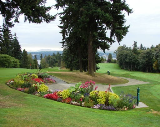 The golf course at the Sand Point Country club has views to the northeast out over Lake Washington.