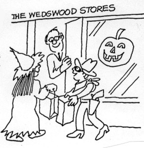 The Wedgwood business district hosts trick or treat  for Halloween.  Cartoon by Bob Cram, September 1994 Wedgwood Community Council Newsletter.