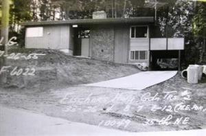 The house at 10049 35th Ave NE as it looked when new in 1954-55. The writing on the photo is the King County Tax Assessors property description. The house was remodelled in 1990 and a second floor was added.