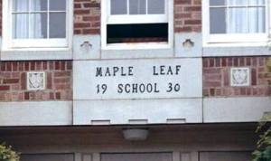 The letters of the 1930 addition to the Maple Leaf School building have been preserved by placing them inside the back cover of the display book at the community center. Photo courtesy of Michael Houston.