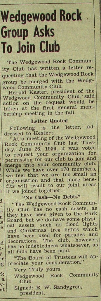 This letter from the Wedgewood Rock Community Club was printed in the Wedgwood Community Club newsletter, the Echo, in June 1956.