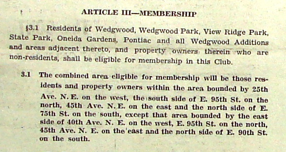 The November 1956 Wedgwood Echo Community Club newsletter printed proposed bylaws amendments, with the original 1953 wording in the first paragraph and changes to be made in the second paragraph.