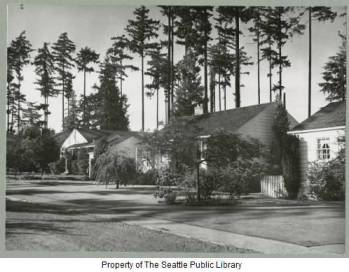 Houses on NE 84th Street in 1953, photo by Werner Lenggenhager.  An amateur photographer, Leggenhager left much of his collection to the Seattle Public Library.  He spoke approvingly of the Balch houses which were modest in scale and harmonious in style.