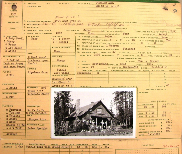 The original property records of King County are stored at the Puget Sound Regional Archives in Bellevue.  This property card shows the assessed value of the house at 3804 NE 87th Street.