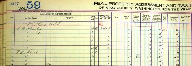 Original property tax assessment rolls like this one for 1935, are kept in temperature-controlled vaults at the Puget Sound Regional Archives in Bellevue.  Line 8 shows that in 1935 the assessed value of Fred Reese's log-sided house was $450.