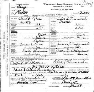 The marriage certificate of Albert Reese and Edith Townsend shows that they were married at the Townsend family home.  Edith's brother CJ and his wife Stella signed as witnesses.