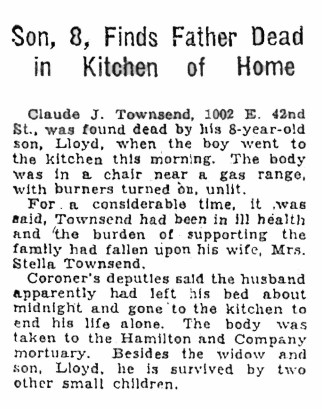 On December 5, 1930, the Seattle Daily Times reported the suicide of CJ Townsend.