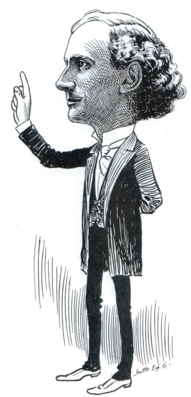 Rev. Mark Matthews as depicted in Argus Magazine cartoon of 1906.