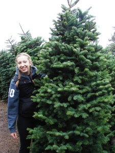 A customer tries on a tree at Hunter Tree Farm's seasonal sale.