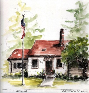 House sketch by Seattle Urban Sketcher Carleen Ormbrek Zimmerman.