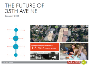 A grant-funded, coordinated neighborhood design plan for what people want in future commercial developments along 35th Ave NE.