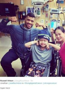 Russell Wilson at Seattle Childrens Hospital on February 3 2015