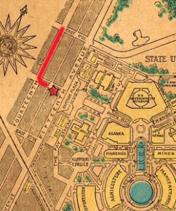 The Alaska-Yukon-Pacific Exposition was held on the campus of the University of Washington. The red arrow on the left is the streetcar line on 15th Ave NE.
