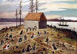 Seattle settlers took refuge in a blockhouse on January 26, 1856. Painting by Emily Inez Denny courtesy of MOHAI.