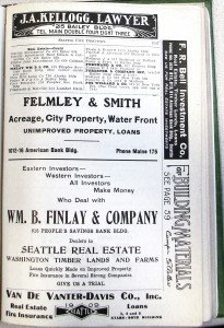 The Seattle City Directory of 1907 included ads for many real estate companies, including the William B. Finlay Company.
