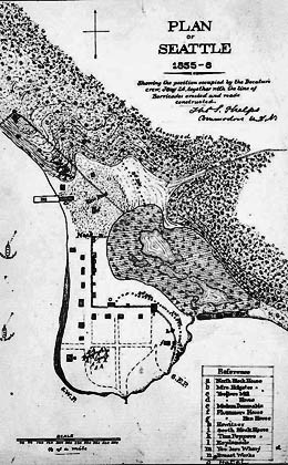 Seattle In 1855 Map Courtesy Of Uw Special Collections Sea 1382