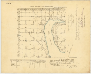 In 1858-1859 William H. Carlton led a survey team and drew this map of Township 26, north Seattle from 85th to 205th Streets.