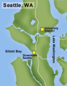 Map of the location of the University District in Seattle. By Chris Goodman, courtesy of HistoryLink.
