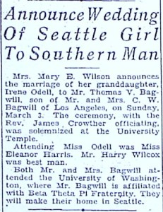 1919 wedding announcement for Irene Odell, Mary Wilson's granddaughter.