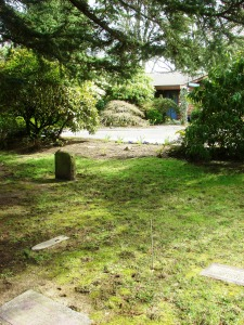 The Lough and Mock grave markers (foreground) are just steps from the office of Mt. Pleasant Cemetery on Queen Anne Hill, Seattle.