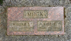 William and Kate Mock's gravemarker at Mt. Pleasant Cemetery is located next to that of Thomas Lough, father and son.