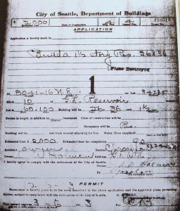 Original construction permit of 1913 for the Blue House at its first location, 8041 16th Ave NE.