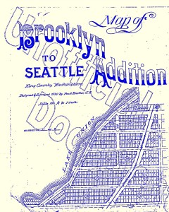Brooklyn Addition to Seattle plat map of 1890