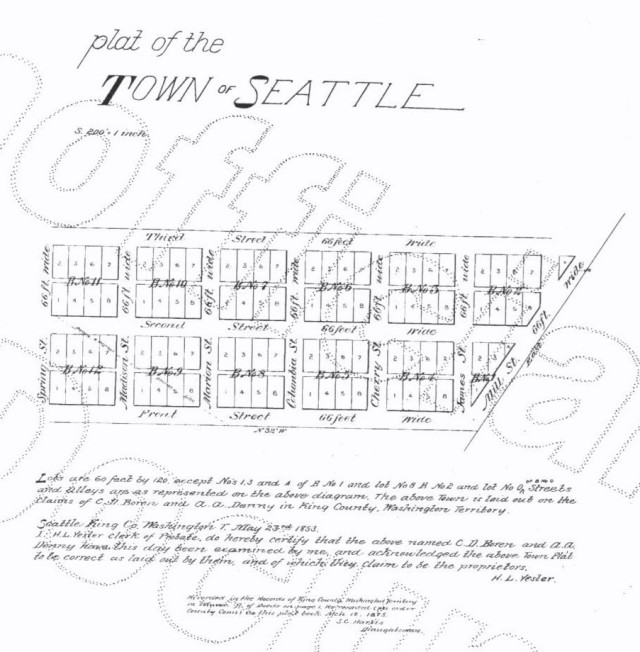 First plat of the Town of Seattle in 1853
