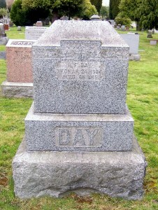 B.F. Day is buried in the Mt. Pleasant Cemetery on Seattle's Queen Anne Hill. The fraternal organization of I.O.O.F. purchased a section for burial of group members.