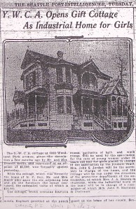 This 1911 news article shows the home of B.F. Day at 3922 Woodland Park Avenue in Fremont. Mrs. Day had died and the house was donated to the YWCA.