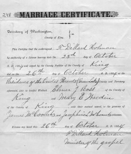 Elmer Ross and Mary Weedin were married on October 26, 1884 at the Weedin home at Green Lake in Seattle.