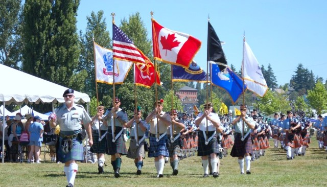Trooping of the colors at the Highland Games in Mt. Vernon, WA.