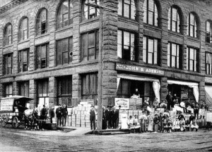 John B. Agen was a successful businessman of Seattle who became wealthy selling supplies such as canned milk. His business block at 820 Western Avenue is pictured here in 1897.