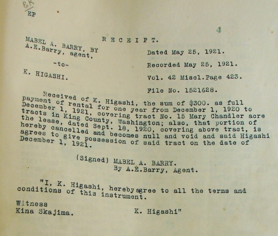 Lease Agreement Of 1921 To Higashi Wedgwood In Seattle History