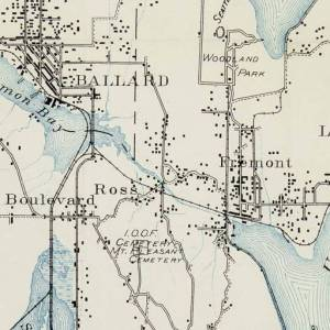 In 1894 Ross and Fremont were shown as place names with railroad stops. The ship canal had not yet been built but there was a creek called The Outlet from Lake Union, flowing westward.